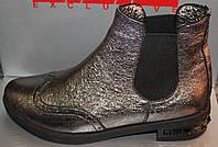 Ботинки кожаные на маленьком каблуке, демисезонная женская обувь от производителя модель Л125ЧЛ-С