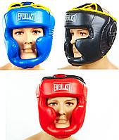 Шлем боксерский с полной защитой PU EVERLAST (черный, р-р M-L)