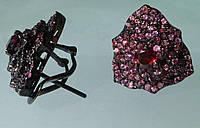 Серебряные серьги с мозамбикским и родолит гранатом в черном родии Роза