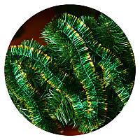 Дождик (мишура) 5 см (3м) (зеленый / золотые концы)