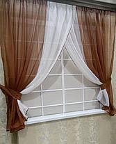 Комплект штор Кларис Коричневая, кухонные, фото 2