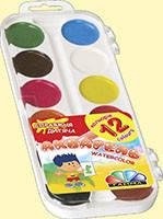 Акварель Гамма медовая полусухая Увлечение 12 цветов б/к пластик 312046 Гамма