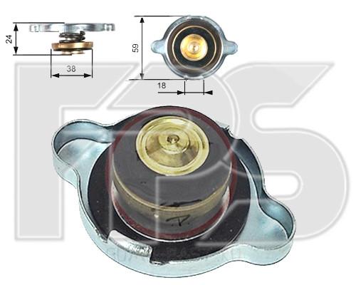 Крышка радиатора D = 59/38  1,1 bar 16 lbs(psi) 108 kPa MERCEDES, FORD