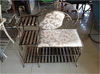 """Кованый диван,банкетка """"Комби""""с удобными полочками и мягким сиденьем"""