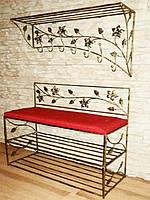 Кованый набор в прихожую (настенная вешалка,пуфик с мягким сиденьем и обувными полочками)