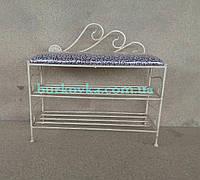 Банкетка кованая с мягким сиденьем и двумя полочками для обуви