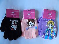 """Перчатки для девочки """"Корона"""" 4-6 лет разные цвета 12 пар в упаковке"""