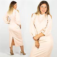 Персиковое платье 15388, батал