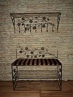 Кованый набор в прихожую (настеная вешалка,пуфик с мягким сиденьем и обувными полочками) 30см, 100см