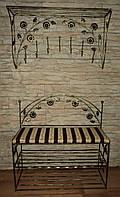 Кованый набор в прихожую (настеная вешалка,пуфик с мягким сиденьем и обувными полочками) 30см, 60см