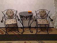 """Столик журнальный,кованый """"NOTA""""+стулья кованые со спинкой и подлокотниками 60см, 64, СТЕКЛО"""