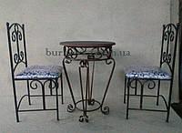 """Столик журнальный,кованый """"Geneva""""+стулья кованые со спинкой стекло, 60 см"""