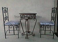 """Столик журнальный,кованый """"Geneva""""+стулья кованые со спинкой металл, 60 см"""
