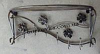 Вешалка настенная,кованая,с полкой для головных уборов
