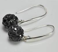 Серьги шарики СГ1000-2 Серьги черные