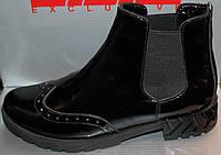 Ботинки кожаные на маленьком каблуке, демисезонная женская обувь от производителя модель Л125ЧЛ-Ч