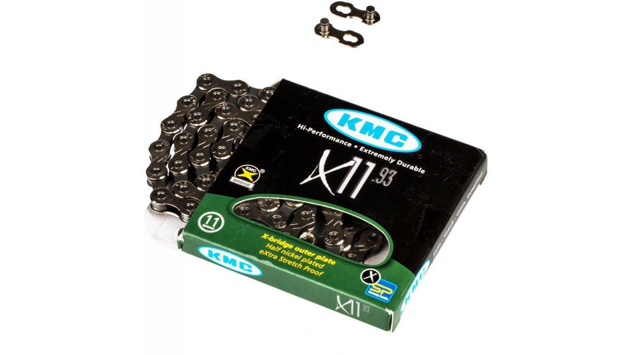 Велосипедная цепь KMC X11.93 (замок в комплекте)