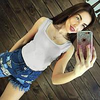 Блуза женская без рукавов / Майка шифоновая белая