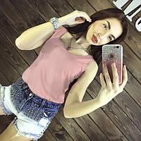 Блуза женская без рукавов / Майка шифоновая розовая