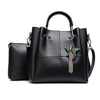Женская сумка средних размеров набор 2 в 1 с брелком
