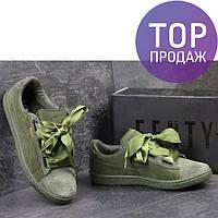 Женские кроссовки Puma Suede Bow, замшевые, темно-зеленые/ кеды женские Пума Суеде с бантом, стильные, удобные