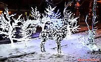 Уличное праздничное освещение 17см монохромной светодиодной лентой с  Блоком питания в герметичной трубке