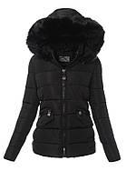 Женская стёганая зимняя куртка на меху с опушкой