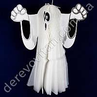 """Декор подвеска-соты на Хэллоуин """"Белый Бу"""", 35 см, двухсторонняя"""