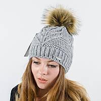 """Женская шапка с помпоном """"Мери"""" (Серый)"""