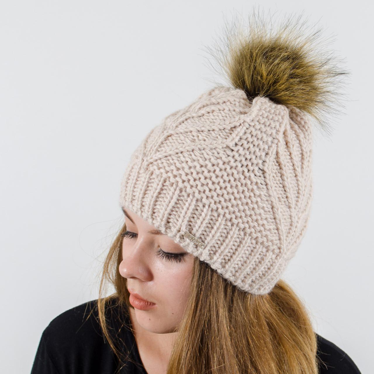 """Женская шапка с помпоном """"Мери"""" (Пудра светлая)"""