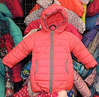 Теплая куртка Еврозима девочка флис+синтепон коралловая, фото 1