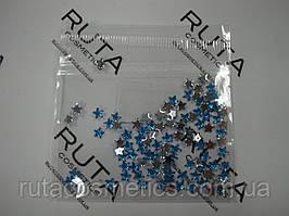 Стразы для дизайна ногтей Звезды голубые