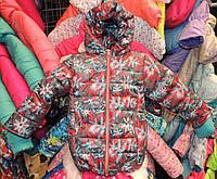 Куртка на девочку Еврозима флис+синтепон (4 размера) Красные снежинки, фото 1