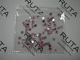 Стразы для дизайна ногтей Звезды розовые