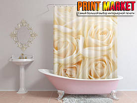 Шторы для ванной розы