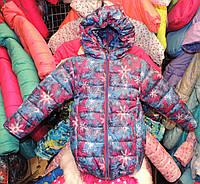 Куртка на девочку Еврозима флис+синтепон (4 размера) Сиреневые снежинки