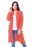 Вязаный оранжевый кардиган ADEL ТМ FashionUp 42-50 размеры