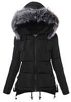 Женская асимметричная зимняя куртка на меху с опушкой