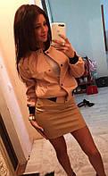 Стильная женская кожаная куртка (эко кожа, длинные рукава, манжеты, на кнопках, бомбер) РАЗНЫЕ ЦВЕТА!