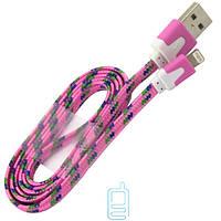 USB кабель Lightning iPhone 5S плоский тканевый розовый