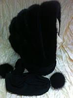Чёрная норковая косынка на чёрной ткани