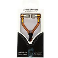 Наушники с микрофоном змейка Zipper New orange