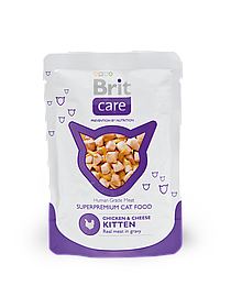 Brit Care Cat Pouches Chicken & Cheese Kitten курица и ароматный сыр для котят, 80 гр
