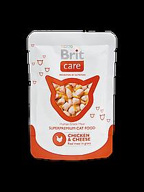 Brit Care Cat Pouches Chicken & Cheeseкуриное филе и сыр для взрослых кошек, 80 гр