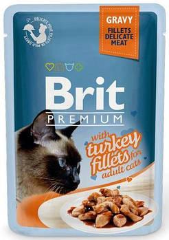 Влажный корм Brit для кошек кусочки из филе индейки в соусе, 85гр