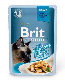 Влажный корм Brit для кошек кусочки из куриного филе в соусе, 85 гр