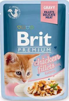 Влажный корм Brit для котят кусочки из куриного филе в соусе, 85 гр