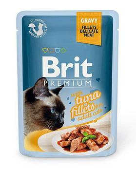 Влажный корм Brit для кошек кусочки из тунца в соусе, 85гр