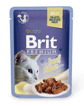 Влажный корм Brit для кошек кусочки из филе говядины в желе, 85 гр