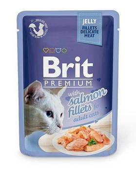 Влажный корм Brit для кошек кусочки из филе лосося в желе, 85гр